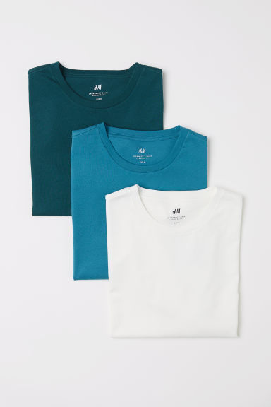 3-pack T-shirts Regular Fit - Petrol - Men | H&M