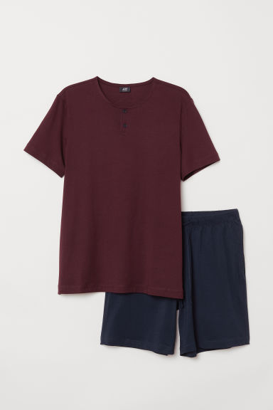 Pima cotton pyjamas - Burgundy/Dark blue - Men | H&M CN