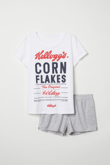 Pyjama top and shorts - White/Kellogg's - Ladies | H&M