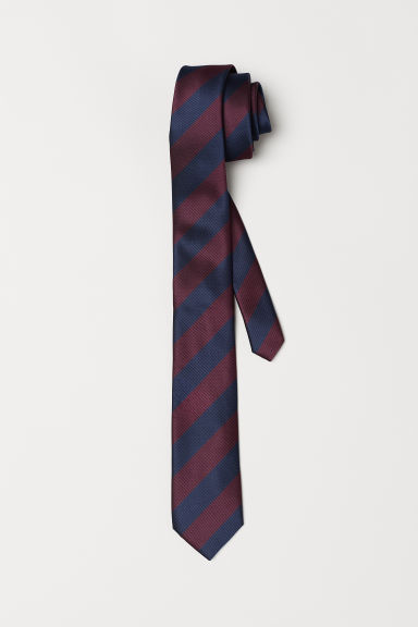Striped tie - Dark blue/Burgundy - Men | H&M