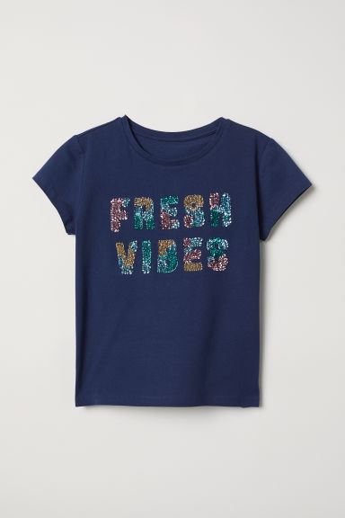 T-shirt with a motif - Dark blue/Fresh Vibes - Kids | H&M