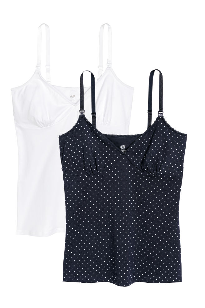 4766c71bae5f MAMA 2-pack Nursing Camisoles - Dark blue/dotted - Ladies | H&M US