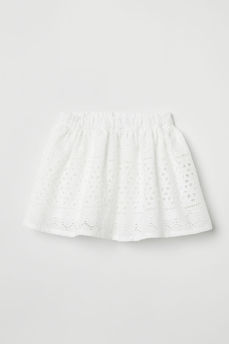 Skirt with broderie anglaise - White - Kids | H&M CN