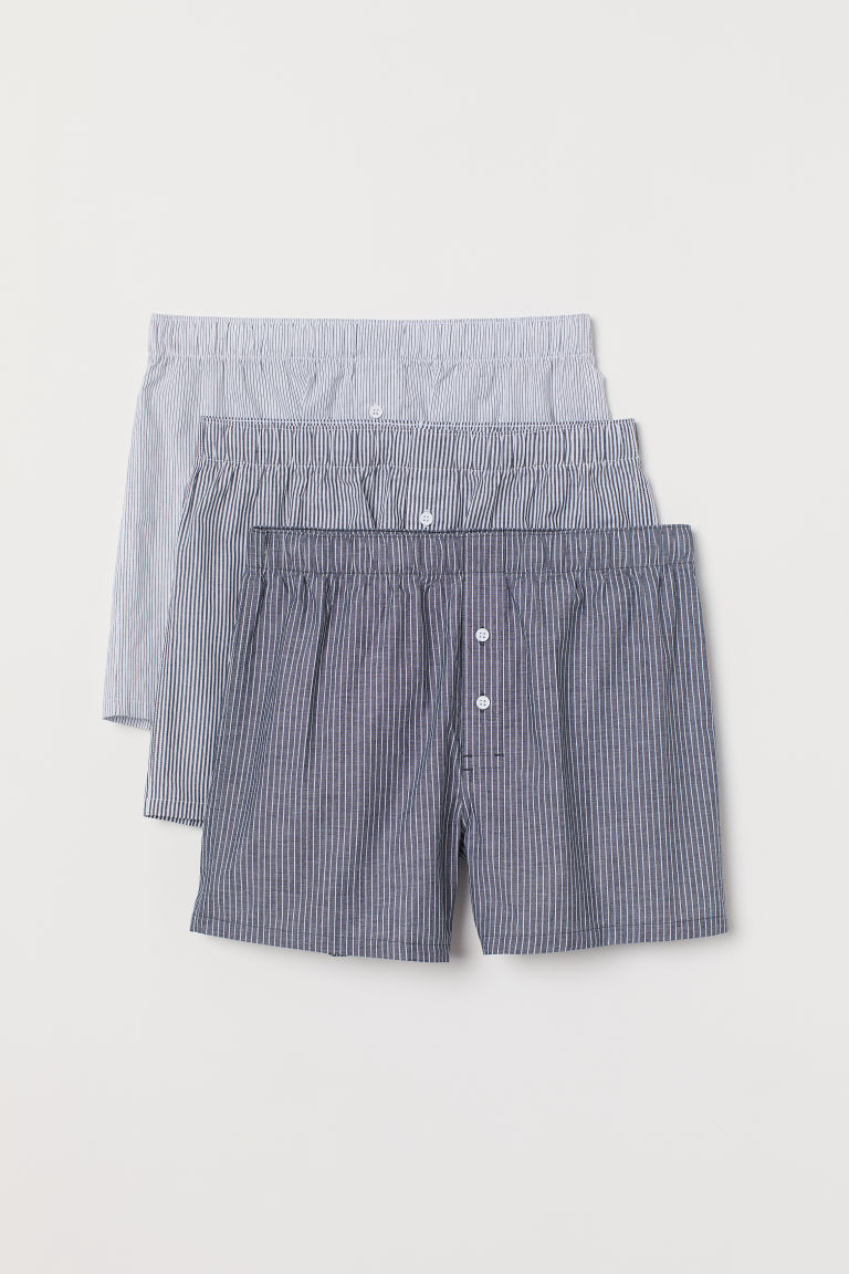 3-pack woven boxer shorts - Dark grey/Striped - Men | H&M IN