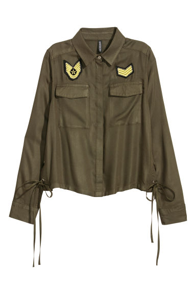 Utility shirt - Dark khaki green - Ladies | H&M CN