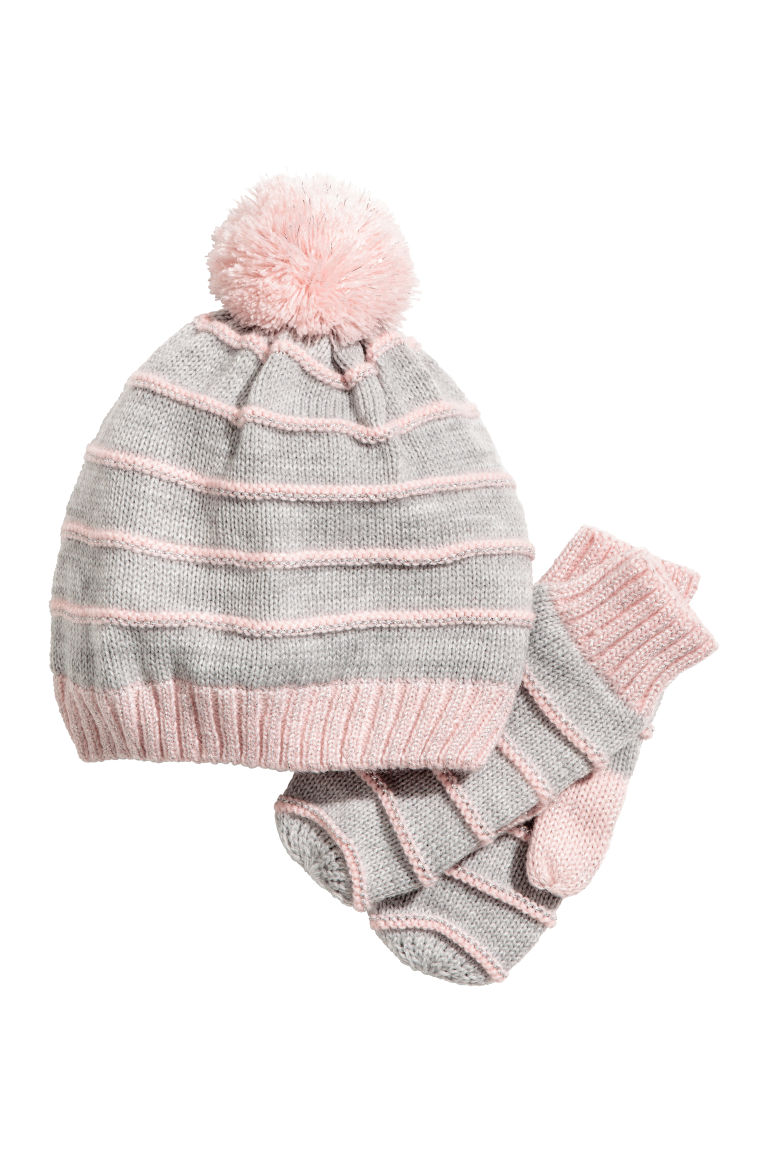Hat and mittens - Light grey/Light pink - Kids | H&M CN