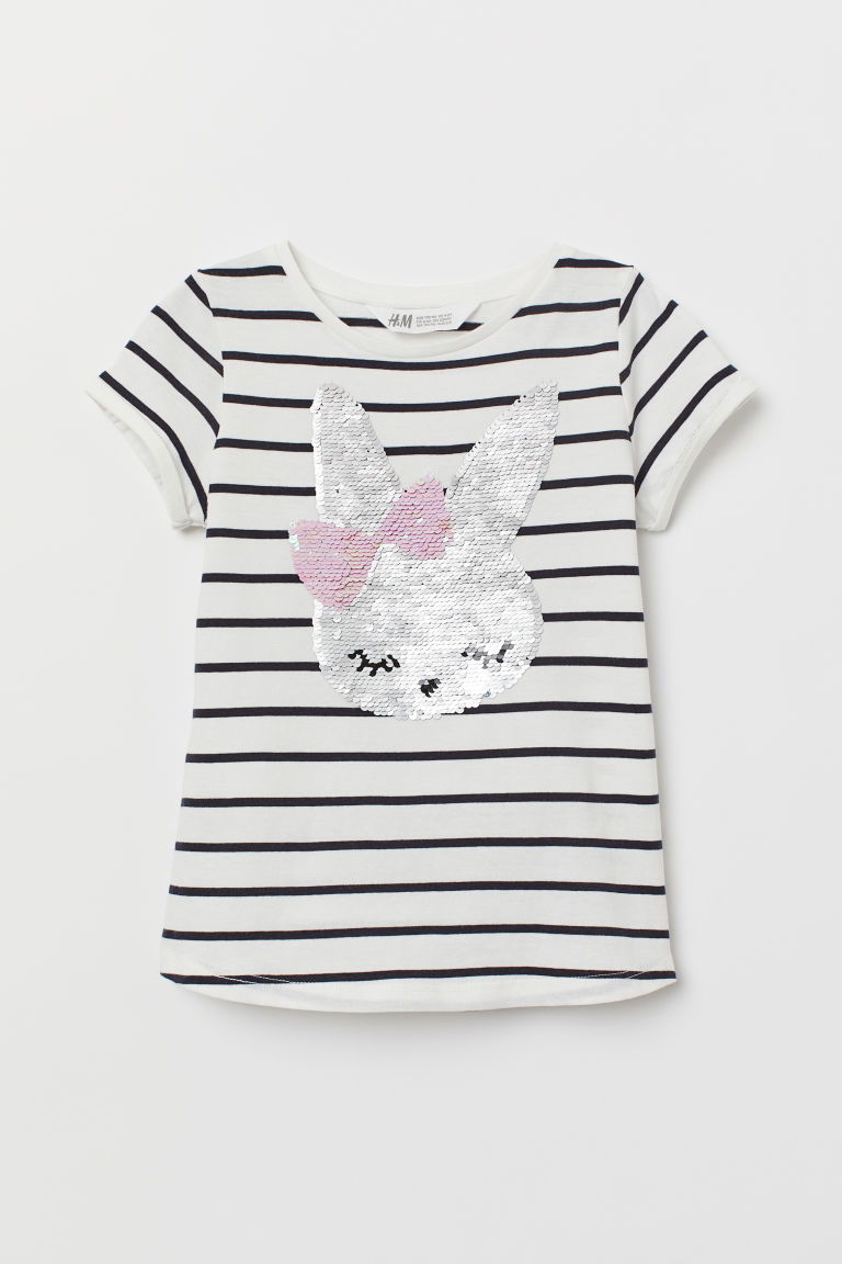 Jersey top with sequins - White striped/Rabbit - Kids | H&M