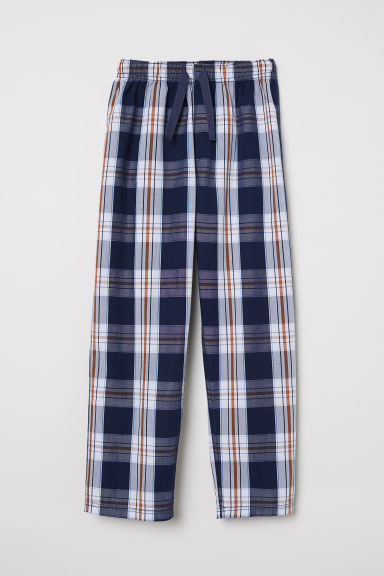 Patterned pyjama bottoms - Dark blue/Checked - Kids | H&M CN