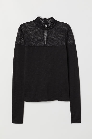Fine-knit jumper with lace - Black -  | H&M CN
