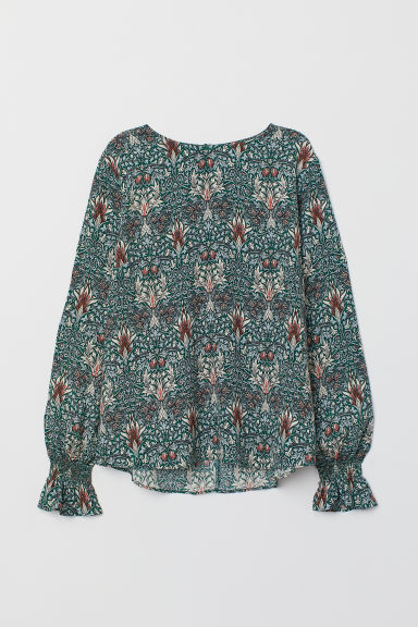 Blouse with smocking - Dark green/Patterned - Ladies | H&M CN