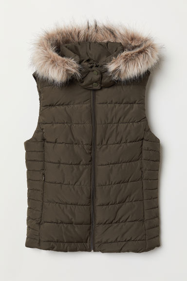 Padded gilet with a hood - Dark khaki green - Ladies | H&M