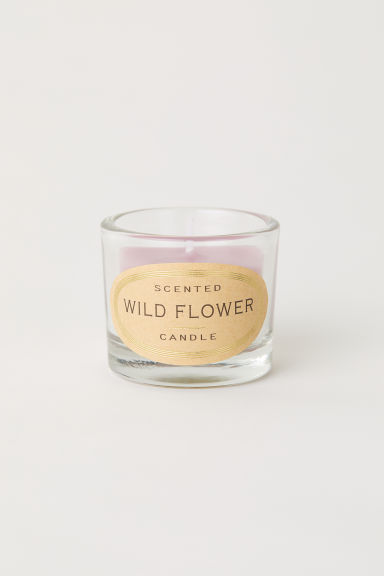 Scented candle in glass holder - Powder pink/Wild Flower - Home All | H&M IE