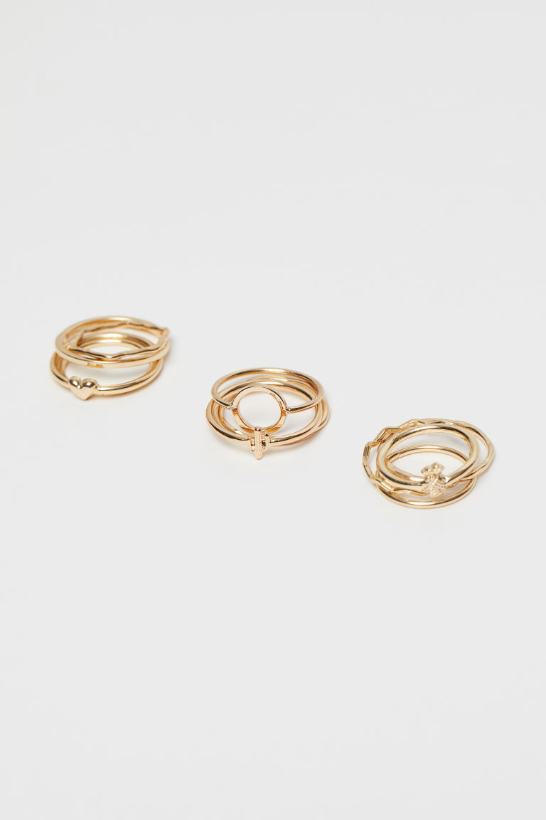 11-pack rings - Gold-coloured - Ladies | H&M IN