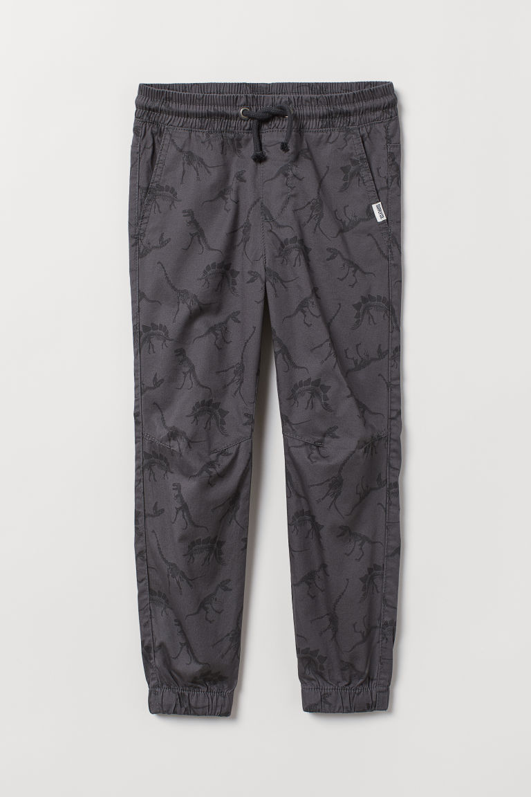 Cotton pull-on trousers - Dark grey/Dinosaurs -  | H&M