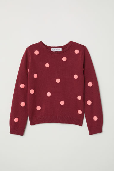 Fine-knit jumper - Dark red/Spotted - Kids | H&M
