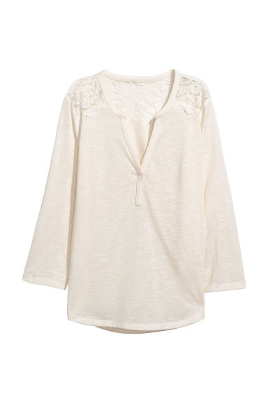 Jersey top with a lace yoke - Natural white -  | H&M CN