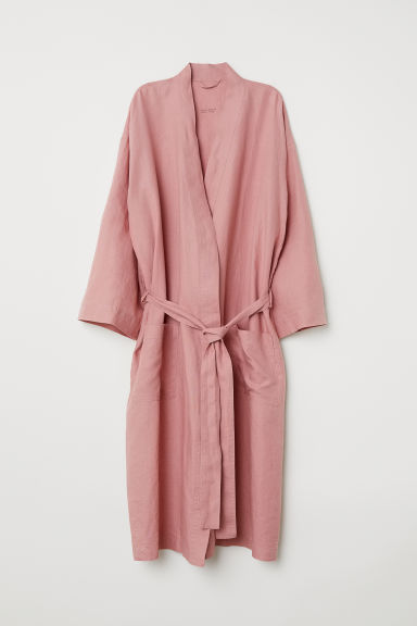 Washed linen dressing gown - Pink - Home All | H&M CN