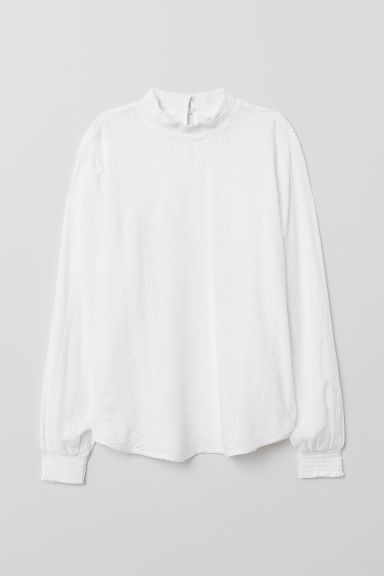 Blouse with broderie anglaise - White - Ladies | H&M CN