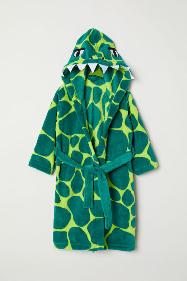 Fleece dressing gown - Green/Crocodile - Kids | H&M