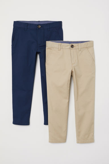 2-pack chinos - Dark blue/Beige - Kids | H&M CN