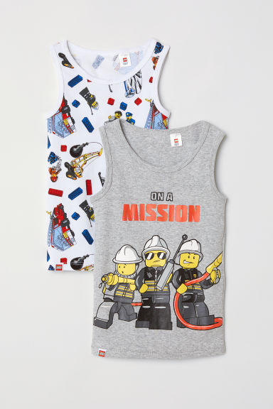 2-pack vest tops - Light grey/Lego - Kids | H&M