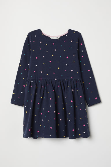 Jersey dress - Dark blue/Spotted - Kids | H&M GB