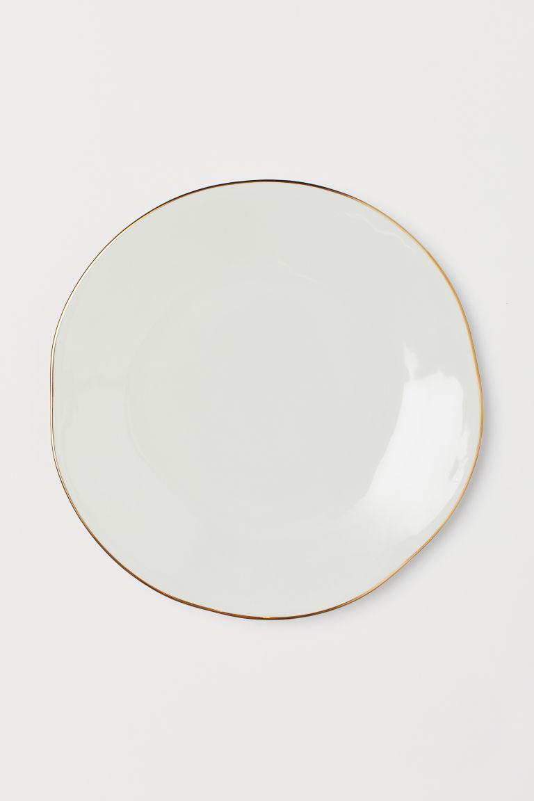 Piatto Ceramica Bianco.Piatto In Ceramica