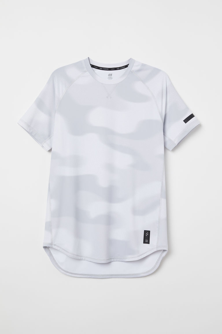 Short-sleeved sports top - White/Patterned -  | H&M