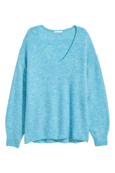 Fine-knit jumper - Light blue marl -  | H&M