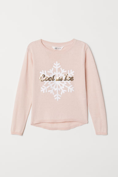 Fine-knit cotton jumper - Pink/Cool as Ice - Kids | H&M CN