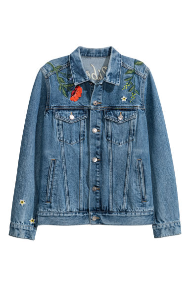 Embroidered denim jacket - Denim blue - Ladies | H&M