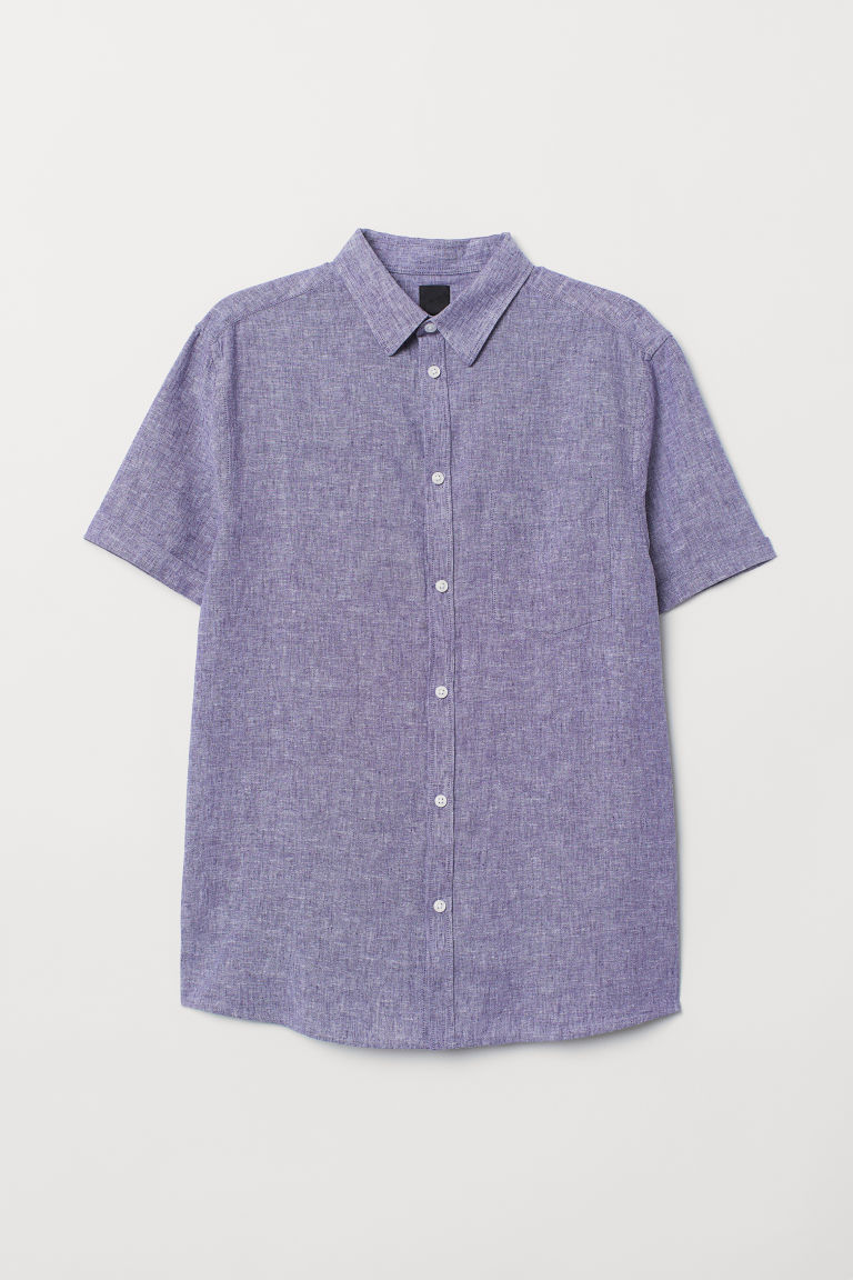 Linen-blend shirt Slim Fit - Purple marl - Men | H&M
