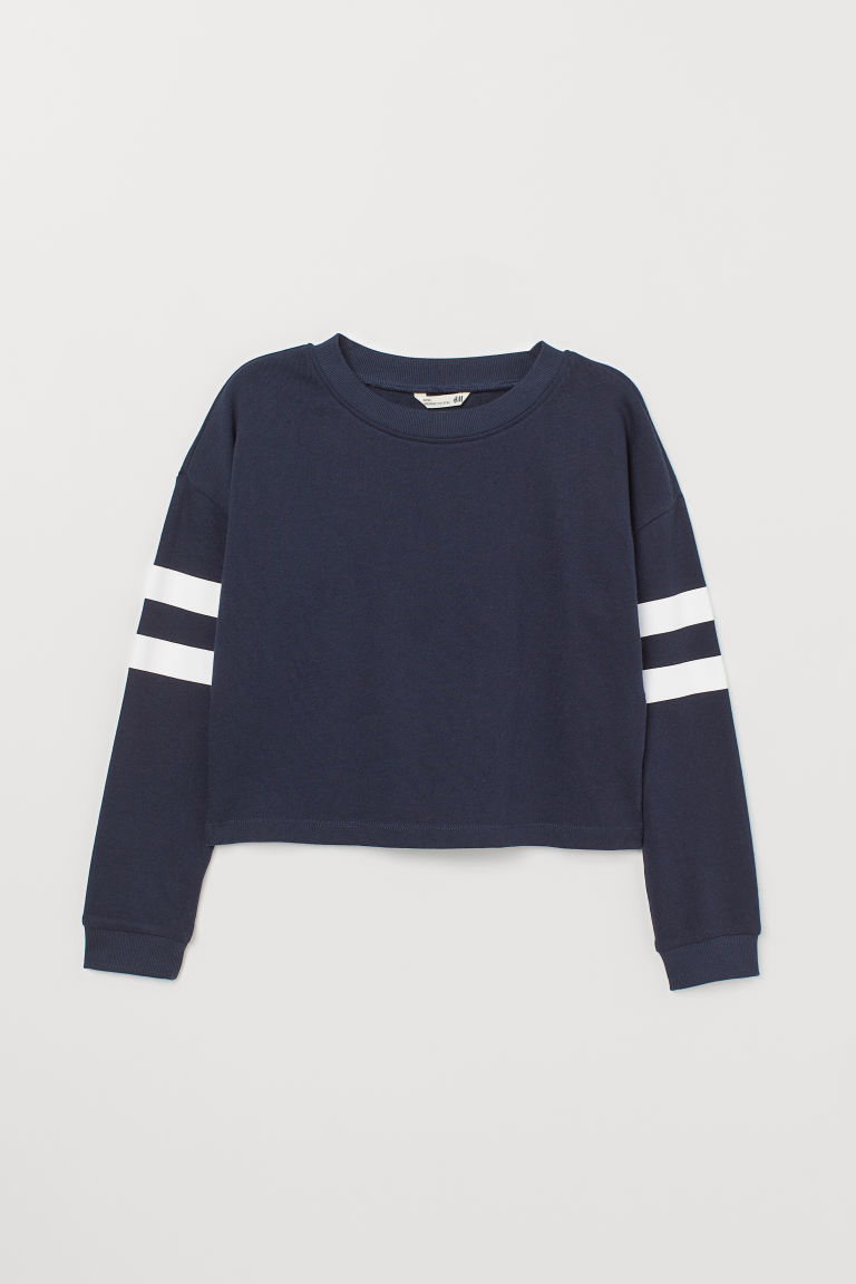 Printed sweatshirt - Dark blue - Kids | H&M CN