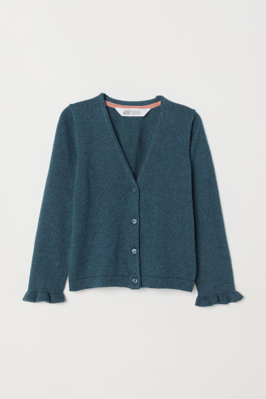 Knitted cotton cardigan - Green marl - Kids | H&M