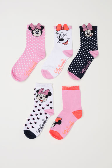 5-pack Socks - Pink/Minnie Mouse - Kids | H&M US