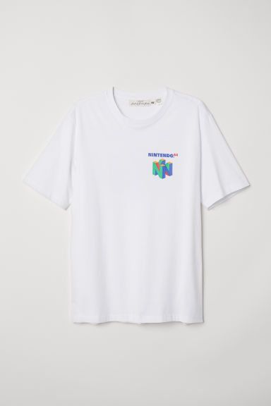 T-shirt with Printed Design - White/Nintendo 64 - Men | H&M CA