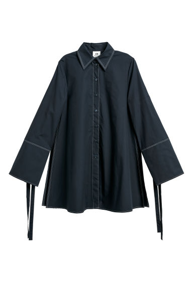 Wide cotton shirt - Dark blue -  | H&M CN