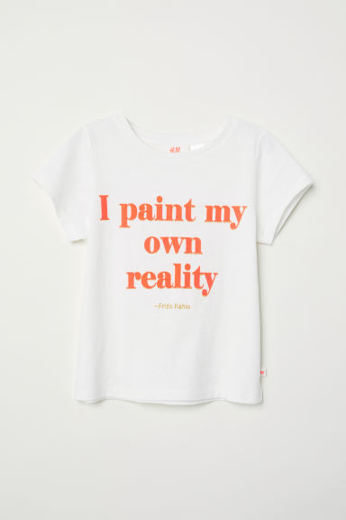 T-shirt met tekstprint - Wit/Frida Kahlo - KINDEREN | H&M BE