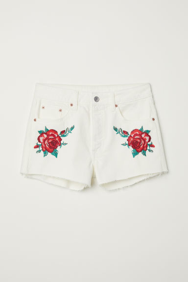 Shorts di jeans ricamati - Denim bianco/rose - DONNA | H&M IT