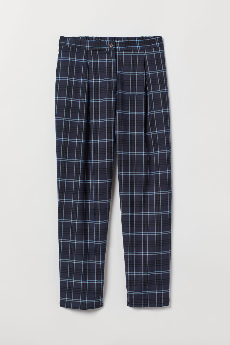 Ankle-length trousers - Dark blue/Checked -  | H&M CN