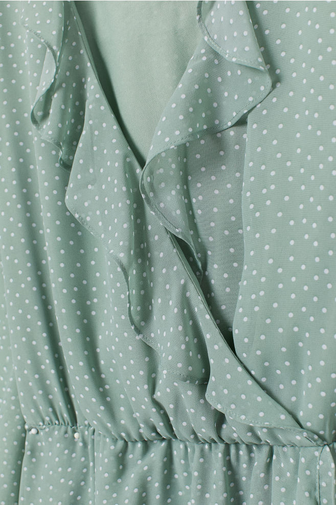 a6c201dfb0 ... Short Wrap Dress - Dusky green white dotted - Ladies