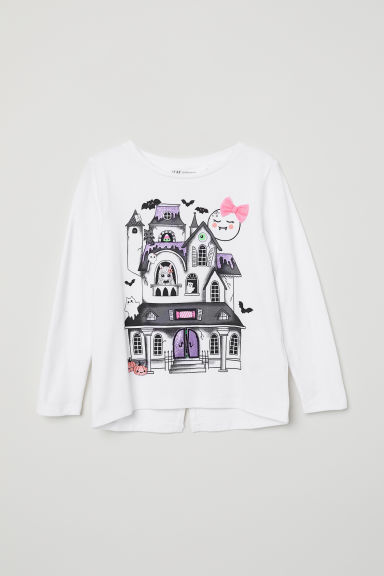 Jersey top with a motif - White/Bow - Kids | H&M CN