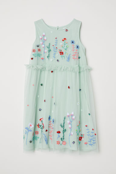 Mesh dress - Mint green -  | H&M CN