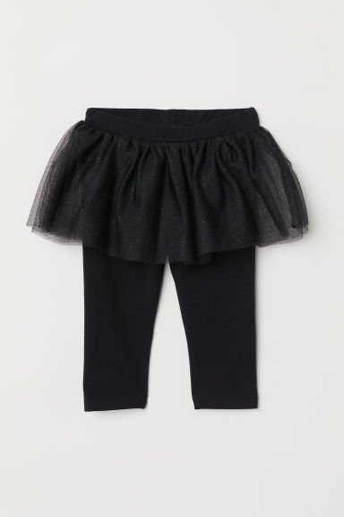 Leggings with a tulle skirt - Black - Kids | H&M