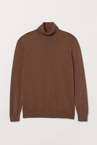 Knitted polo-neck jumper - Brown marl -  | H&M CN