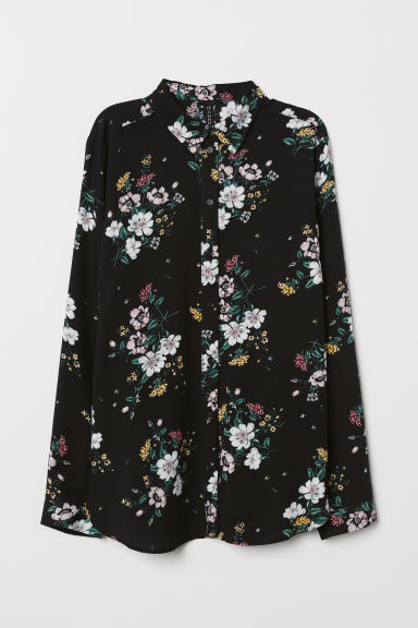 Viscose shirt - Black/Floral -  | H&M