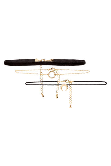 3-pack chokers - Black/Gold -  | H&M