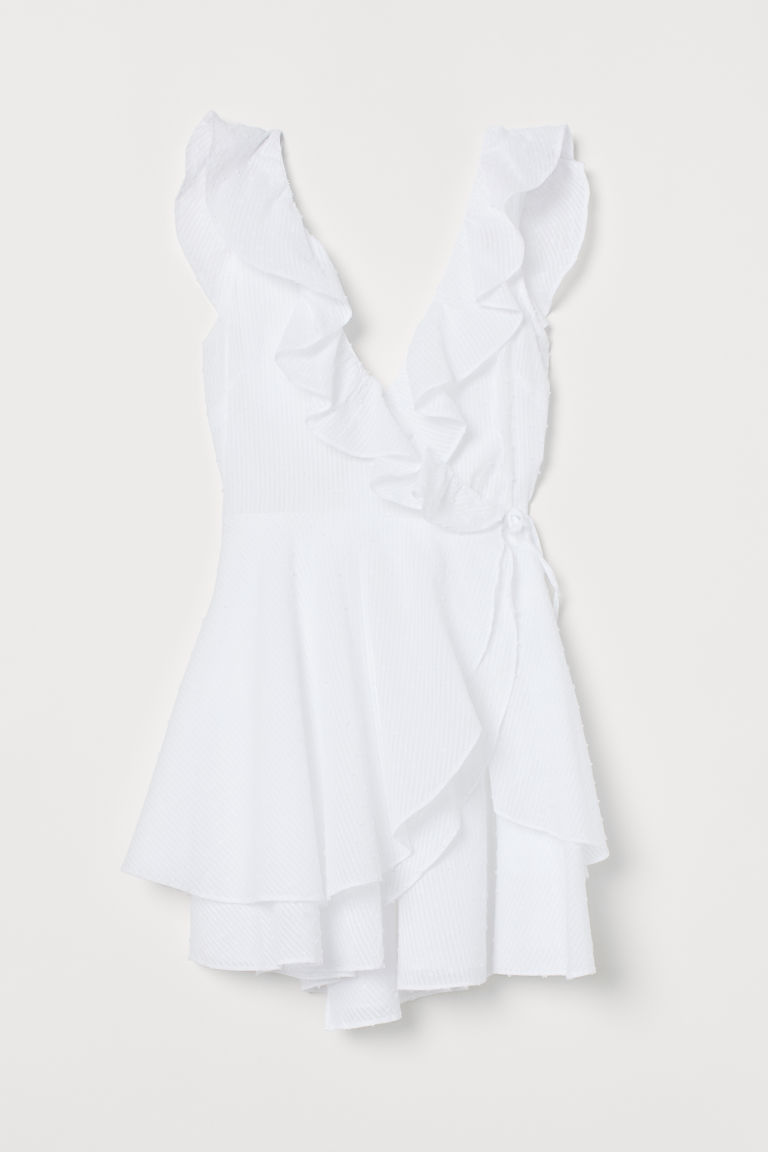 Vestido cruzado con borde olán - Blanco - Ladies | H&M US