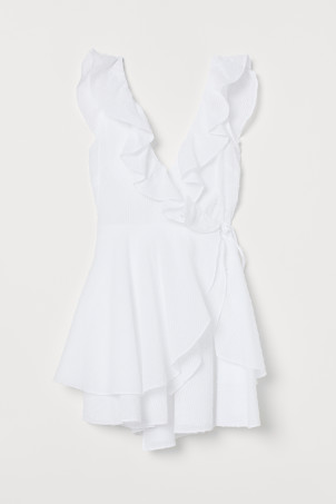 Ruffle-trimmed Wrap Dress