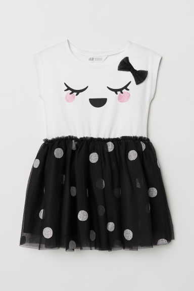 Dress with a tulle skirt - White/Spotted - Kids | H&M